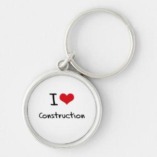 Eu amo a construção chaveiro