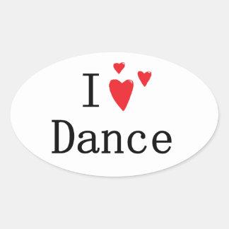Eu amo a dança adesivo oval