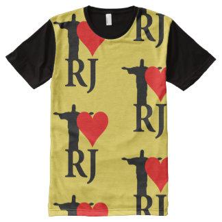 Eu amo a edição do carnaval de Rio de Janeiro Camisetas Com Impressão Frontal Completa