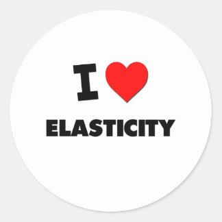 Eu amo a elasticidade adesivo em formato redondo