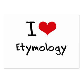Eu amo a etimologia cartoes de visitas