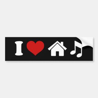 Eu amo a etiqueta da música da casa adesivo para carro