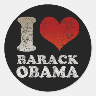 Eu amo a etiqueta de Barack Obama Adesivos Redondos