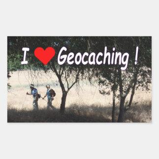 Eu amo a etiqueta de Geocaching com caminhantes