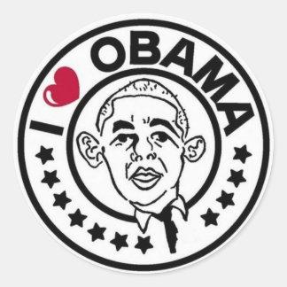 Eu amo a etiqueta de Obama Adesivo Redondo