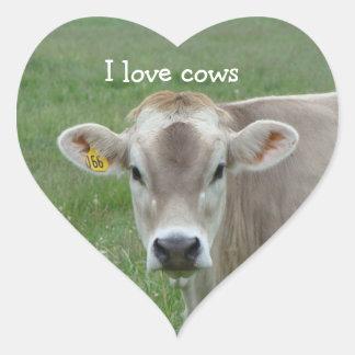 Eu amo a etiqueta do coração das vacas adesivos em forma de corações