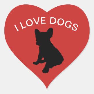 Eu amo a etiqueta dos cães