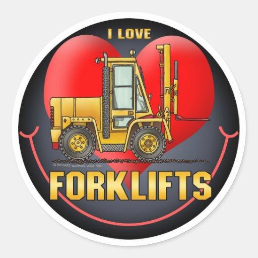 Eu amo a etiqueta dos miúdos dos caminhões de adesivo em formato redondo