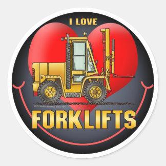 Eu amo a etiqueta dos miúdos dos caminhões de empi adesivo em formato redondo