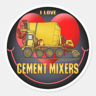 Eu amo a etiqueta dos miúdos dos caminhões do mist adesivo em formato redondo
