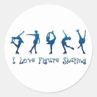 Eu amo a figura azul de patinagem adesivo redondo