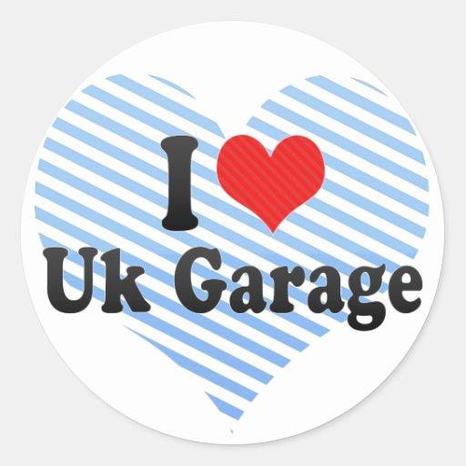 Eu amo a garagem britânica adesivos redondos