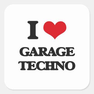 Eu amo a GARAGEM TECHNO Adesivo Quadrado
