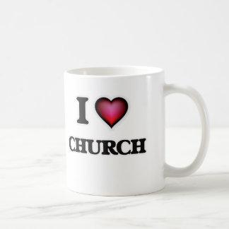 Eu amo a igreja caneca de café