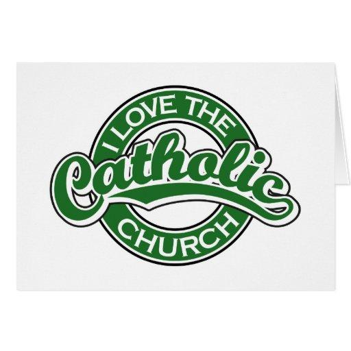 Eu amo a igreja Católica no verde Cartão