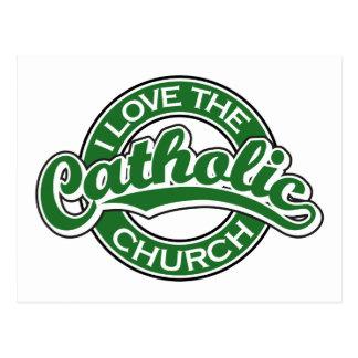Eu amo a igreja Católica no verde Cartão Postal