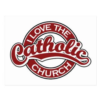Eu amo a igreja Católica no vermelho Cartões Postais