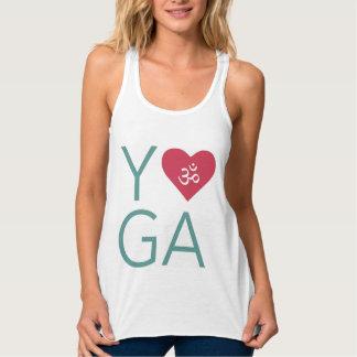 Eu amo a ioga (do coração) com símbolo do OM Regata Racerback Flowy