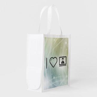 Eu amo a leitura sacolas ecológicas para supermercado