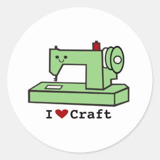 Eu amo a máquina de costura de Kawaii do ofício Adesivos Em Formato Redondos