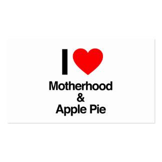 eu amo a maternidade e a torta de maçã cartoes de visita