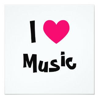 Eu amo a música convite quadrado 13.35 x 13.35cm