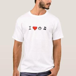 Eu amo a música da casa - homens da camisa de T