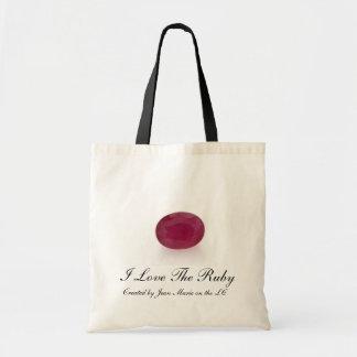 Eu amo a pedra preciosa do rubi sacola tote budget
