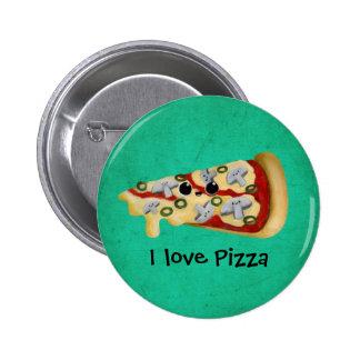 Eu amo a pizza bóton redondo 5.08cm