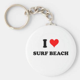 Eu amo a praia Califórnia do surf Chaveiro