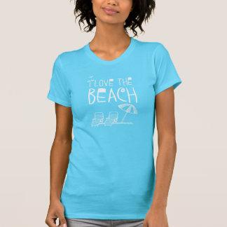 Eu amo a praia com guarda-chuva de praia camiseta
