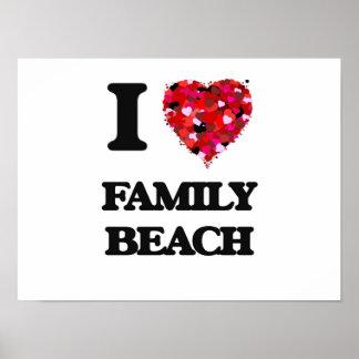 Eu amo a praia Guam da família Poster