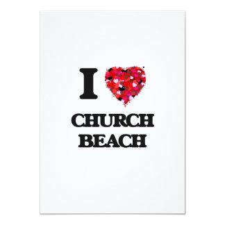 Eu amo a praia Michigan da igreja Convite 12.7 X 17.78cm