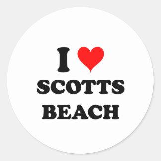Eu amo a praia New York de Scotts Adesivo Redondo
