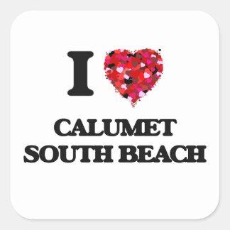 Eu amo a praia sul Illinois do Calumet Adesivo Quadrado