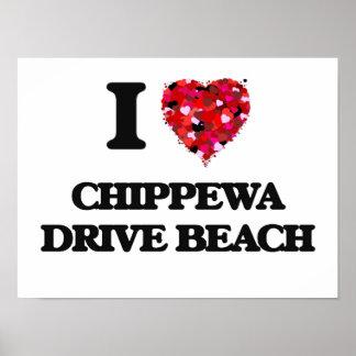 Eu amo a praia Wisconsin da movimentação do Poster