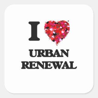 Eu amo a reabilitação urbana adesivo quadrado