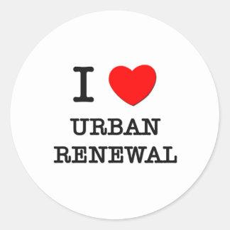 Eu amo a reabilitação urbana adesivo em formato redondo
