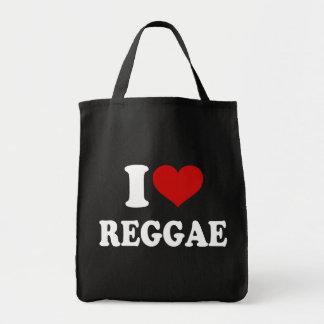 Eu amo a reggae sacola tote de mercado