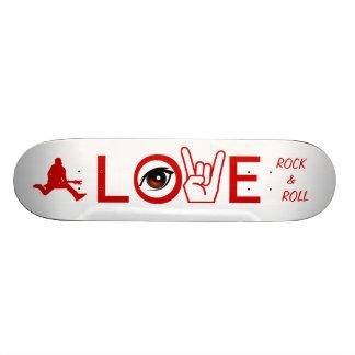 Eu amo a rocha & rolo shape de skate 20cm