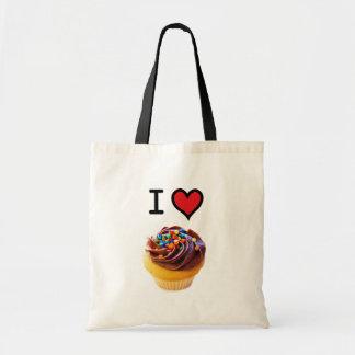 Eu amo a sacola dos cupcakes bolsa de lona
