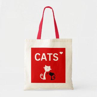 Eu amo a sacola dos gatos bolsas de lona