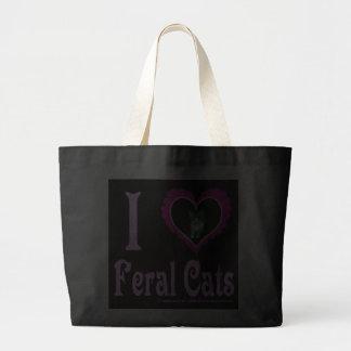 Eu amo a sacola feroz dos gatos sacola tote jumbo