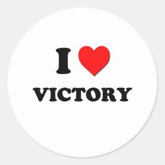 Eu amo a vitória adesivos redondos