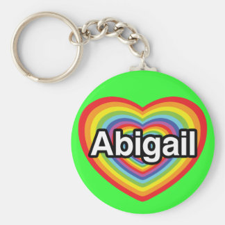 Eu amo Abigail, coração do arco-íris Chaveiros