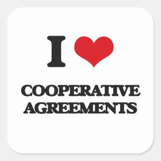 Eu amo acordos cooperativos adesivo quadrado