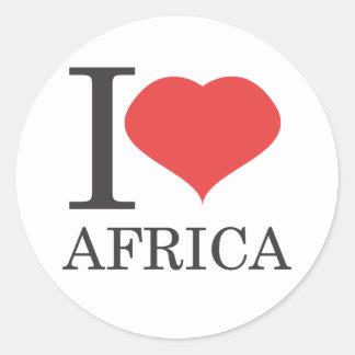 Eu amo África Adesivo Em Formato Redondo