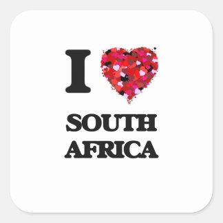Eu amo África do Sul Adesivo Quadrado