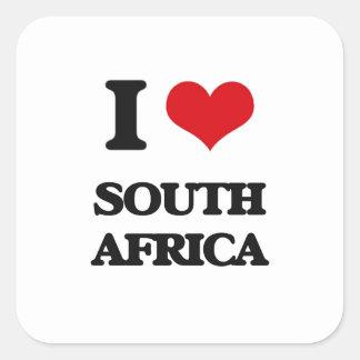 Eu amo África do Sul Adesivos Quadrados