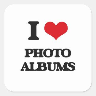 Eu amo álbuns de fotografias adesivos quadrados
